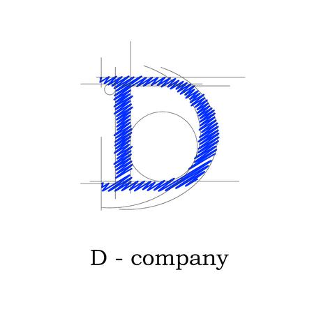 papier lettre: Vector sign design letter D