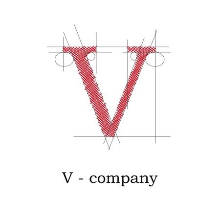 architect drawing: Vector sign design letter V