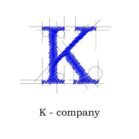 letter k: Vector sign design letter K