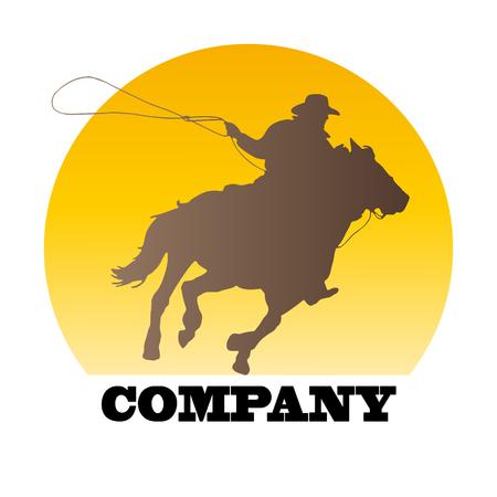vaquero: Vector Regístrate vaquero en la puesta del sol Vectores