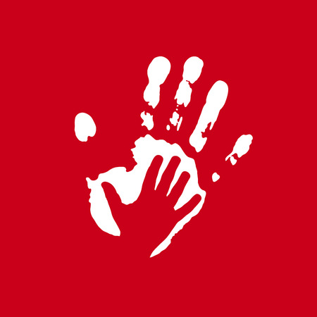 Vector sign imprint and childs hand