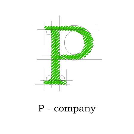 papier lettre: Vector lettre design signe P