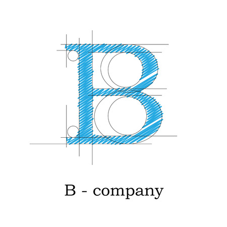 b: Vector sign design letter B