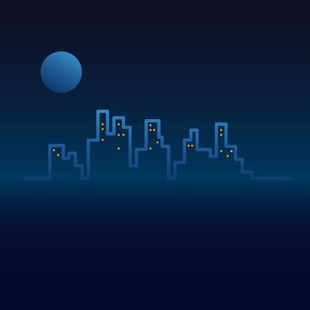 night moon: Vector city line, sunset