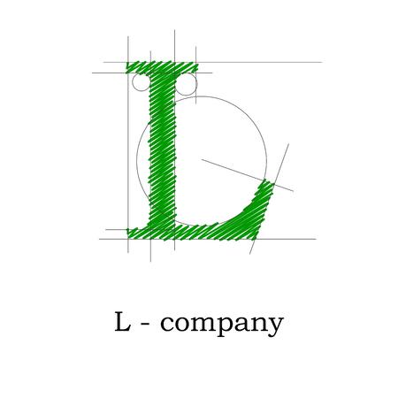 l first: Vector sign design letter L