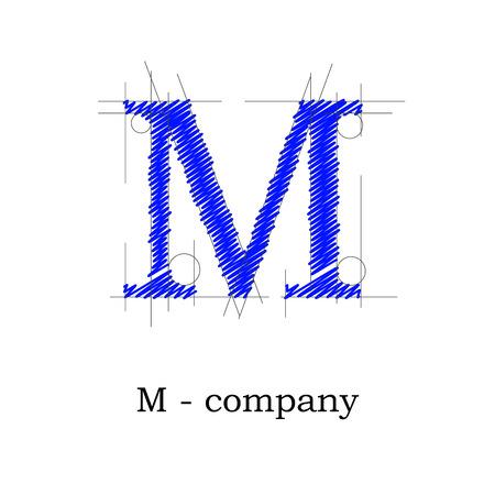dibujo tecnico: Vector de diseño signo letra M Vectores