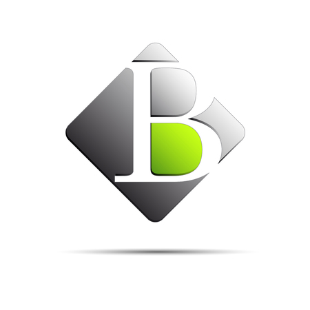 metal letter: Vector sign initial letter B on white background