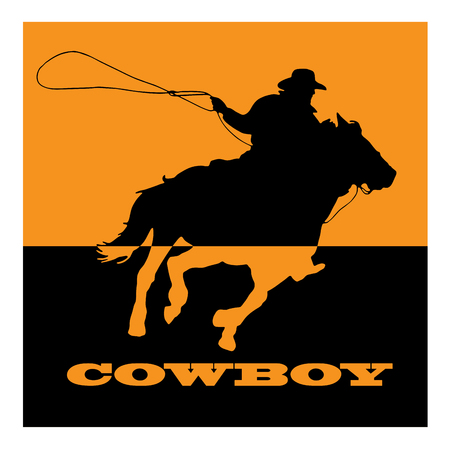 cowboy: Vector sign cowboy on orange background Illustration
