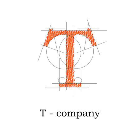 architect office: Vector sign design letter T