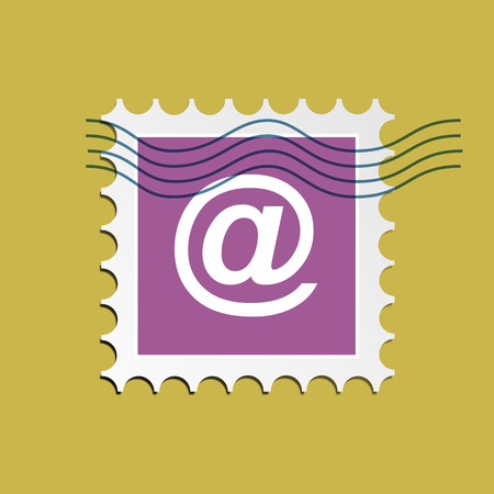 stamped: Vector email, postage stamped