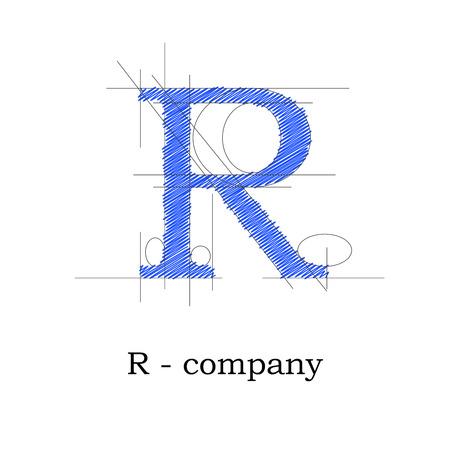 papier a lettre: Vector lettre design signe R