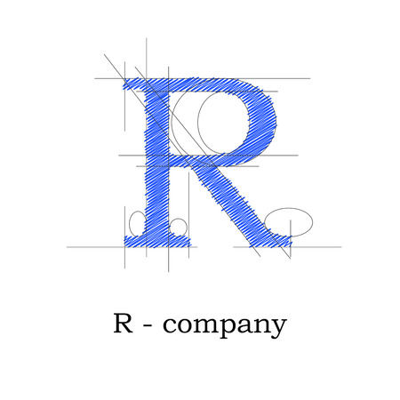 architecture drawing: Vector sign design letter R