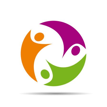 trabajo en equipo: Logotipo de trabajo en equipo en el fondo blanco Vector