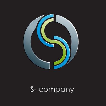 sinergia: Muestra del vector letra S con el círculo sobre fondo negro Vectores