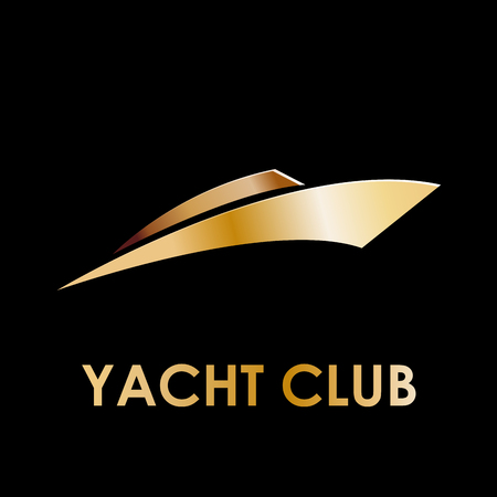 luxury yacht: Vector golden sign yacht and boat