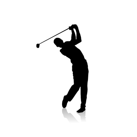 golf stick: Vector black silhouette of golf