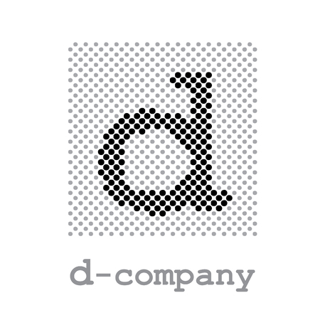 d: Vector sign letter D, screening Illustration