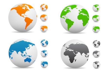 globo terraqueo: Colección del vector de color globo