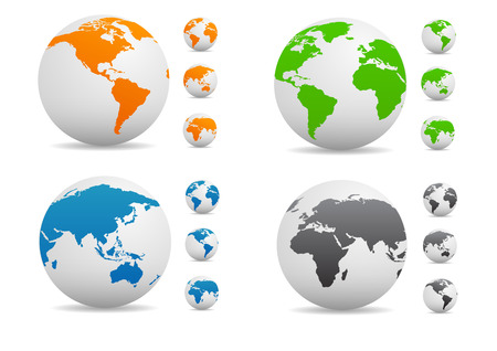 orange sign: Vector Colored globe collection