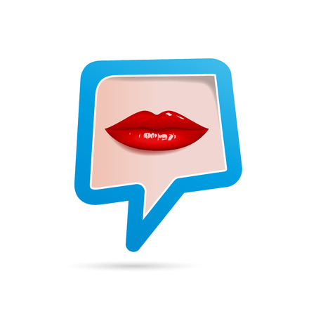 red lips: Vector sign talking, red lips Illustration