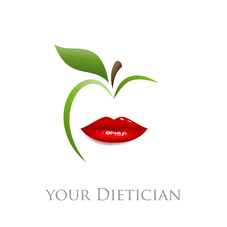 balanced diet: Vector sign diet, dietician. Mouth and green apple