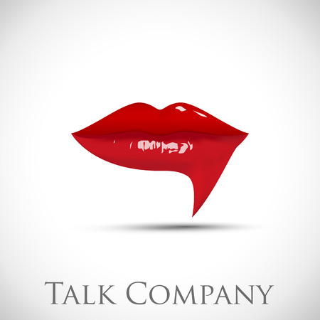 red sign: Vector sign talking, red lips Illustration