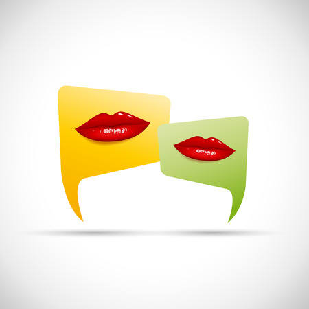 conferencing: Vector sign talking, red lips Illustration