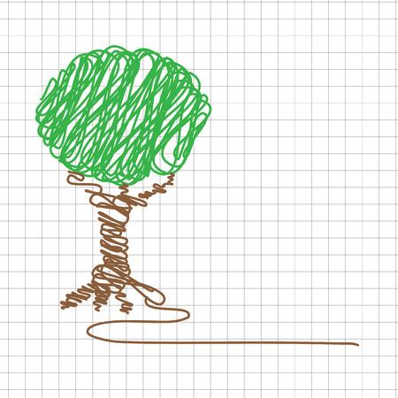 marca libros: dibujos de los niños del vector, el árbol Vectores
