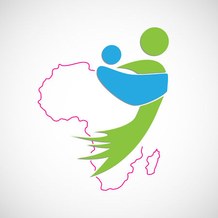 clandestine: Vector african mother. Save Africa. Children Illustration
