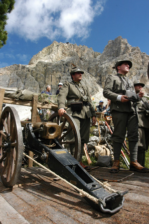 commemoration: Cortina dAmpezzo, Italy - July 24, 2005: Commemoration of the First World War. On the Italian Alps with actors dressed in historical uniforms and weapons of the Italian army.