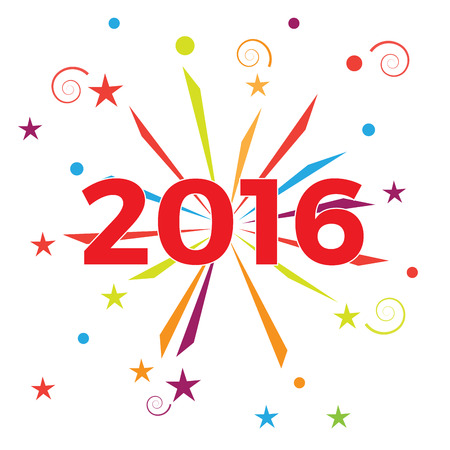 firecrackers: Creative text 2016 with fireworks and firecrackers Illustration