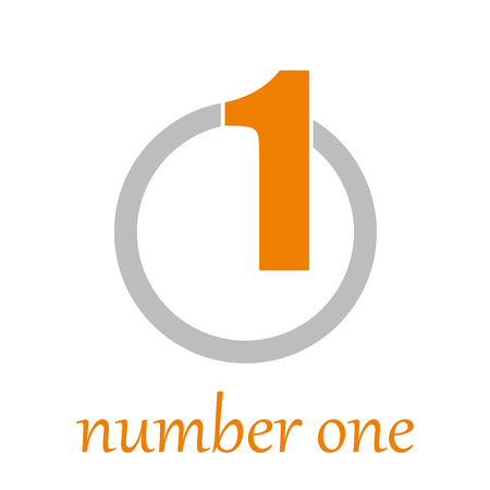 numbers abstract: Vector sign number one on the circle