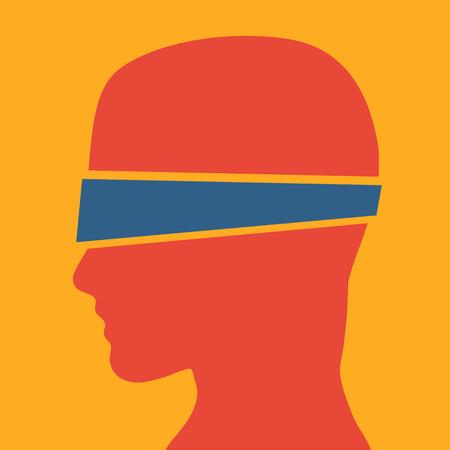 ojos vendados: Vector de la muestra del hombre con los ojos vendados