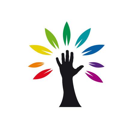 handbreadth: Vector sign rainbow hand