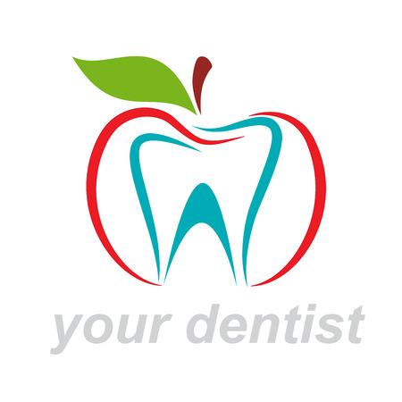 apple bite: Vector sign dentist. Bite the apple Illustration