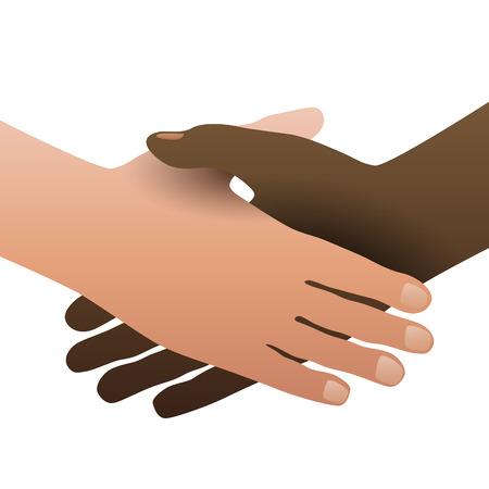 handclasp: Handshake, concept of no apartheid. Hands black and white Illustration