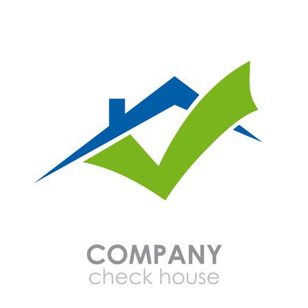 logotipo de construccion: Vector muestra de la casa de verificación