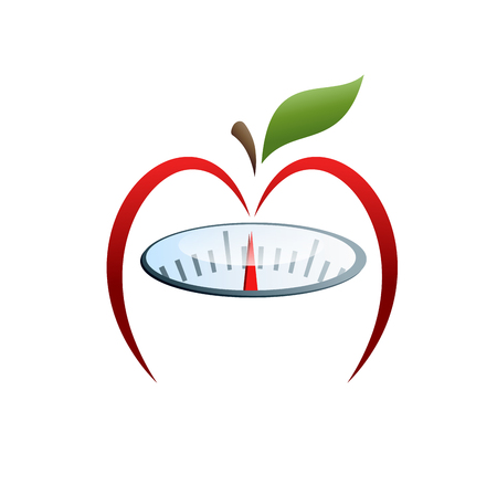 slimming: Vector sign slimming diet, apple