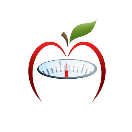Vector sign slimming diet, apple