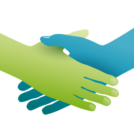 pact: Handshake, concept of environmental friendship. Hands green and blue