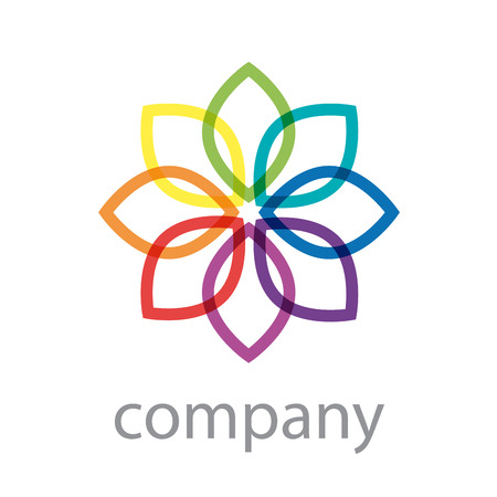 energy icon: Vector sign rainbow flower, abstract shape Illustration