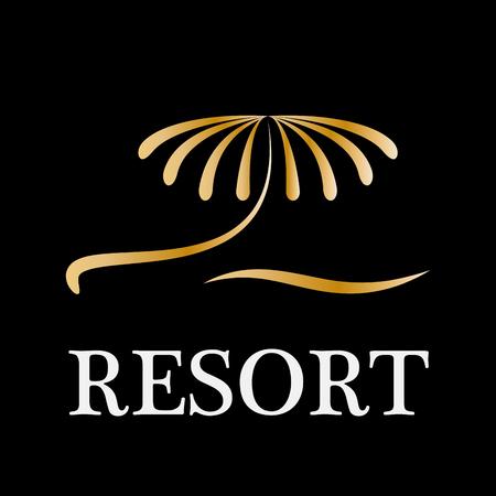 resort: Vector sign golden palm resort Illustration