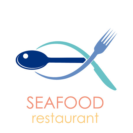 animal logo: Vector sign seafood restaurant