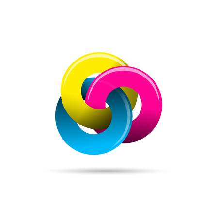 business group: Vector sign crossed circles, CMYK colours