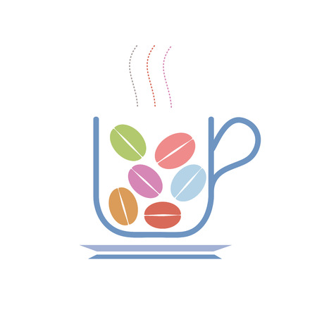 mixtures: Vector sign cup with coffee