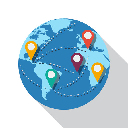 destinations: Vector sign world destinations, flat design