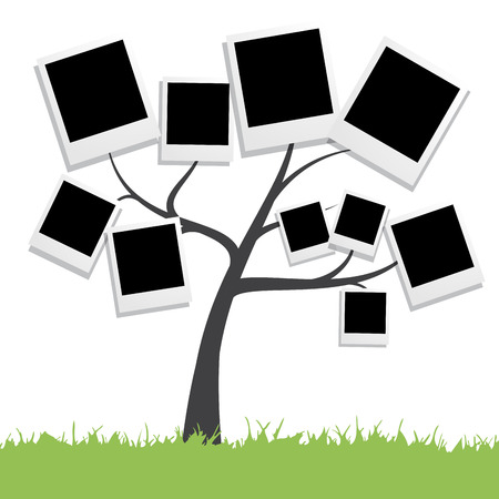 polaroid frame: Vector Family tree with photos