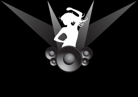 oscilloscope: Music party, black background Illustration
