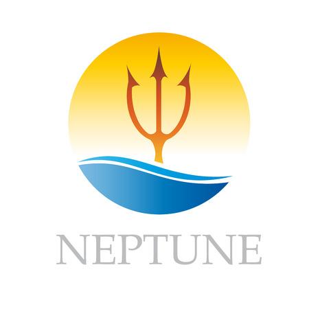 neptune: Vector sign Neptune in the sea