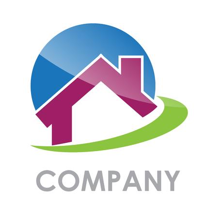 logo batiment: Vector signer maison mauve dans le vert Illustration